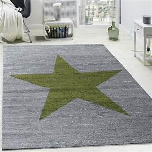 Teppich Grün Grau : designer teppich stern muster modern trendig kurzflor meliert in gr n grau teppiche kurzflor ~ Markanthonyermac.com Haus und Dekorationen