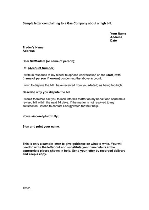 sample letter complaining  gas company   high bill