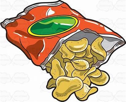 Chips Chip Bag Clipart Potato Cartoon Clip
