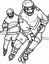 Hockey Coloring Player Pages Goalie Mask Chasing Opponent Printable Nhl Getcolorings Netart sketch template