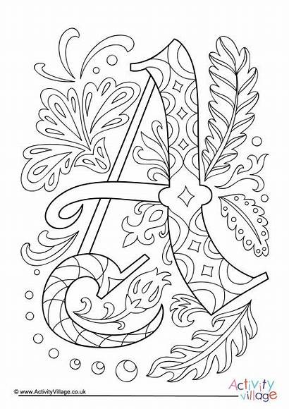 Letter Illuminated Colouring Coloring Pages Alphabet Letters