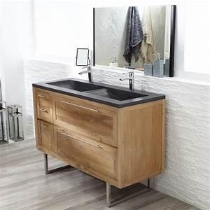 meuble sous vasque salle de bain teck mobilier bois massif With vasque en teck
