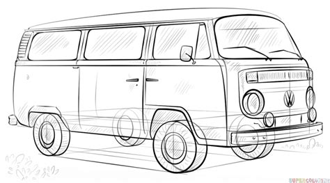 volkswagen old van drawing how to draw a vw bus step by step drawing tutorials