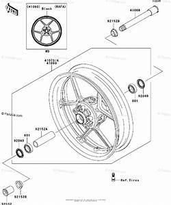 Kawasaki Motorcycle 2011 Oem Parts Diagram For Front Wheel