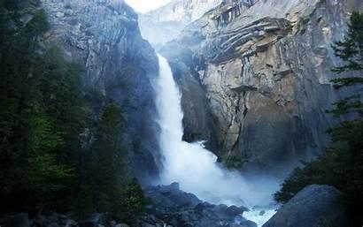 Waterfall Mountain Nature Mountains Yosemite Waterfalls Wallpapers