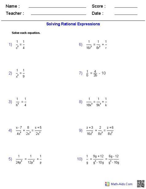 solving rational equations worksheets math aids com