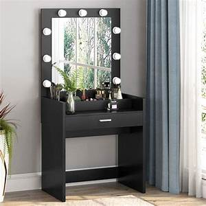 Tribesigns, Vanity, Set, With, Lighted, Mirror, And, Cosmetic, Organizer, Makeup, Vanity, Dressing, Table