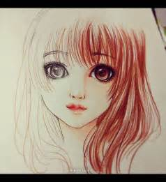 Color Pencil Anime Girl Drawing