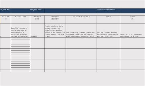 decision log templates  excel word