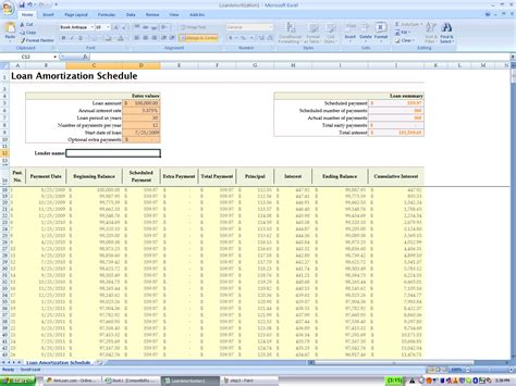 using excel s built in amortization table experiments in finance