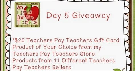 An Apple For The Teacher 500 Follower Giveaway Day 5