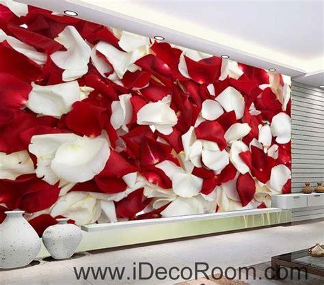 Red & White Rose Petal 00085 Floor Decals 3D Wallpaper