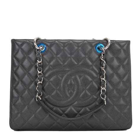 chanel grand shopper tote gst dark grey quilted caviar bag worlds