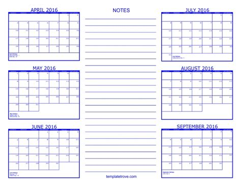 month template 6 month calendars printable calendar template 2018