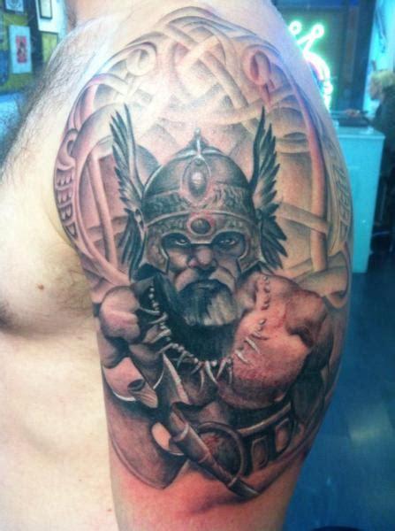 shoulder viking tattoo  cesar lopez tattoo