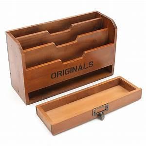 3, Tier, Wood, Letter, Pen, Rack, Stationery, Drawer, Holder, Desktop, Organizer, Storage, Mail, Sorter