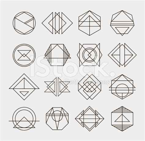 Abstract Shapes And Lines by Set Of Retro Line Abstract Monochrome Geometric