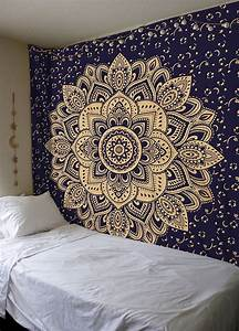 Blue & Gold Passion Ombre Boho Mandala Tapestry Wall