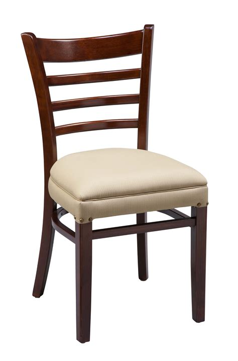 espresso wooden kitchen chair with white faux leather