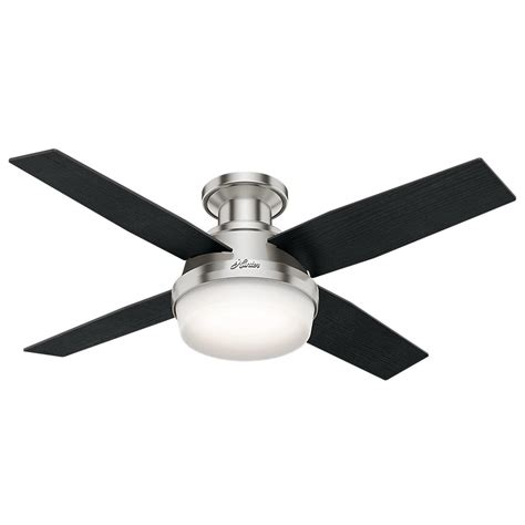 dempsey 44 in low profile led indoor brushed nickel ceiling fan with light kit and