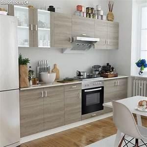 Four Et Plaque De Cuisson : cuisine compl te avec four int gr et plaque de cuisson aspect ch ne ~ Melissatoandfro.com Idées de Décoration