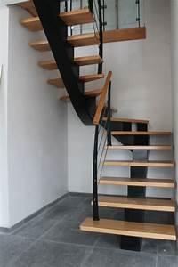 Escalier Bois Quart Tournant : le drennec acier escalier bois un quart tournant h tre ~ Farleysfitness.com Idées de Décoration