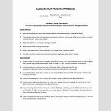 Acceleration Practice Problems