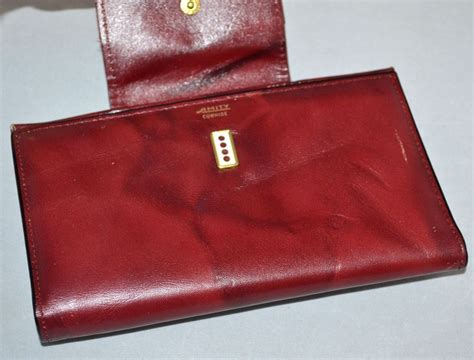 Amity Cowhide Wallet by 1970s Amity Burgundy Cowhide Leather Checkbook Wallet