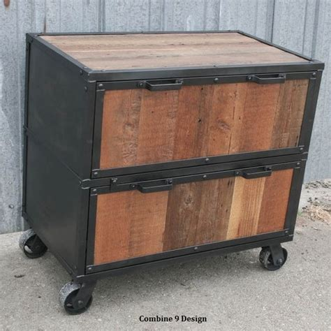 custom wood file cabinets hand made vintage industrial file cabinet reclaimed wood