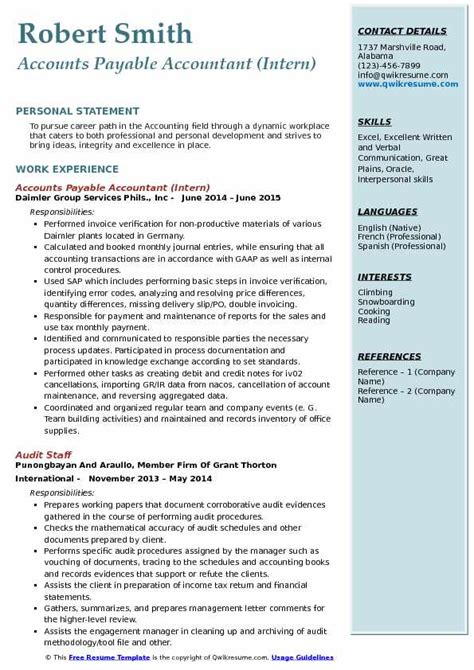 Experienced Accountant Resume by Accounts Payable Accountant Resume Sles Qwikresume