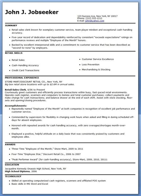 sle resume for entry level retail sales associate retail sales clerk resume