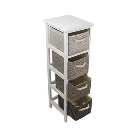 colonne de salle de bain 25 cm 4 paniers blanc achat vente meuble bas commode