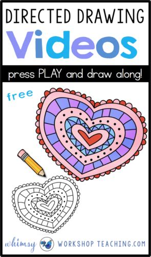 directed drawing  valentine hearts whimsy
