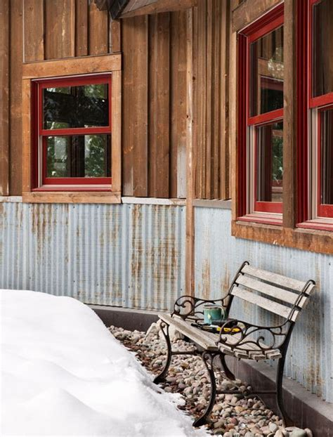 Exterior Wainscoting Ideas by Reclaimed Corrugated Metal Makes Totally Bomb Proof