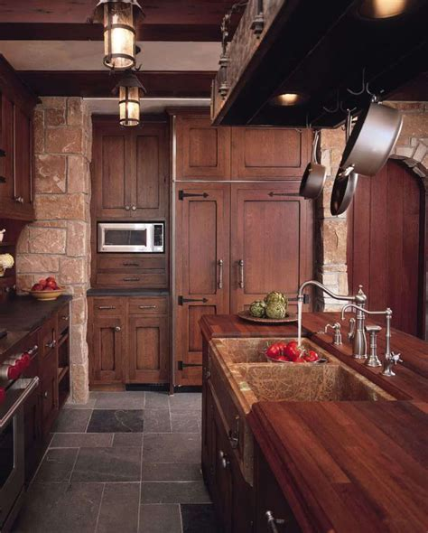 dark oak wooden cabinets create rustic  elegant