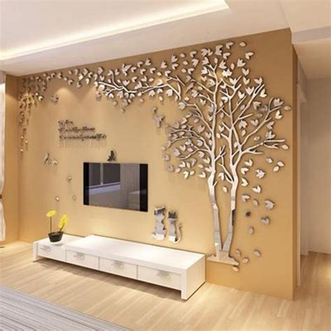Cafe Colored Living Room by Tree 3d Sticker Acrylic Stereo Wall Stickers Home