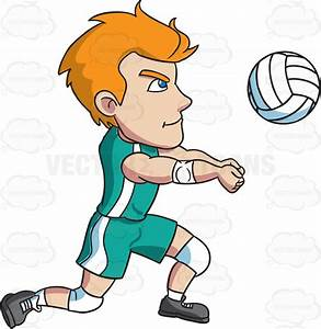 A Male Athlete Volleying A Ball Cartoon Clipart