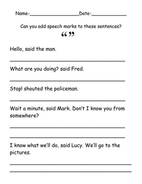 add speech marks to improve the sentences by ruthbentham