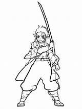 Slayer Demon Tanjiro Kamado Coloring Printable sketch template