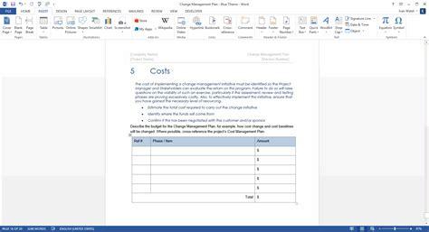 change management plan template ms wordexcel