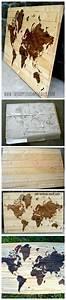 Carte Du Monde Deco Murale : carte du monde dyi sur bois pour d coration murale ~ Dailycaller-alerts.com Idées de Décoration