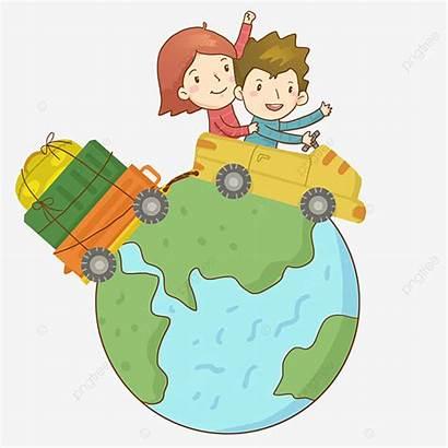 Travel Boy Backpack Cartoon Around Take Play