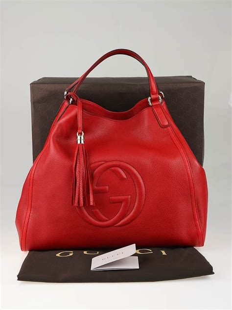 gucci red leather large soho tote bag yoogis closet