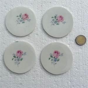 Lot D Assiette : lot de 4 centres d 39 assiette fleurs porcelaine pour mosa que elle mosa que ~ Teatrodelosmanantiales.com Idées de Décoration