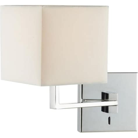 bed swing arm wall light in chrome with ivory cotton