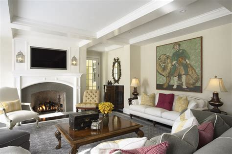Elegant And Warm Family Room Fireplace