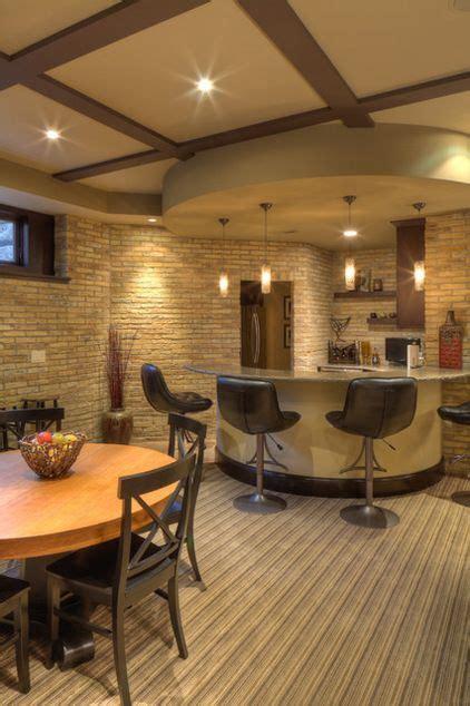 cool basement design  curved counter  circular