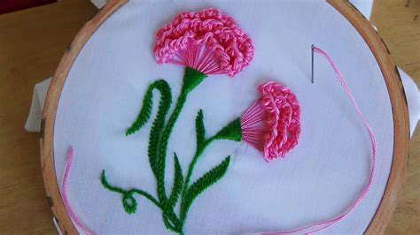 hand embroidery carnation flower youtube