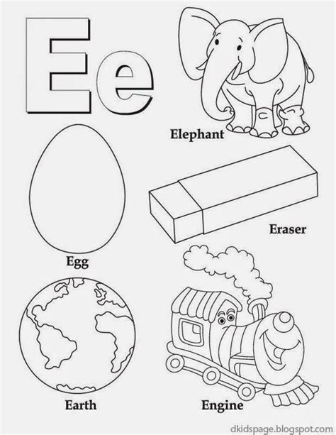 alphabet letter e printable english worksheet for kids