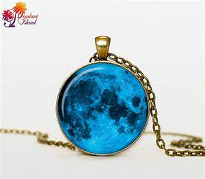Items similar to Moon Pendant Full Moon Necklace Space ...